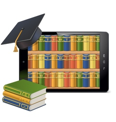 Tablet pc with library vector