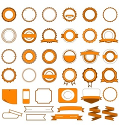 Set of sale badges labels and stickers in orange vector