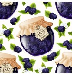 Blackberry jam glass vector