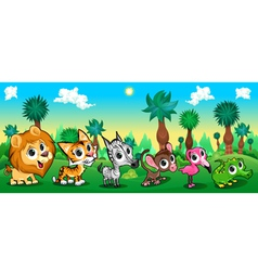 Set of funny animals in the forest vector