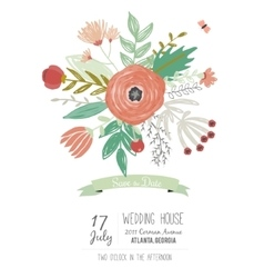 Wedding romantic floral save the date invitations vector