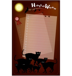 Halloween black cats on full moon background vector