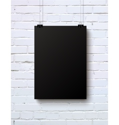 Black blank vertical piece of paper on the white vector
