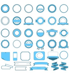 Set of sale badges labels and stickers light blue vector