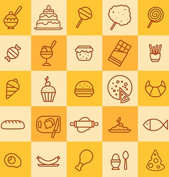 Set of icons of different kinds of food vector