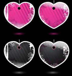 Set of heart-shaped labels vector