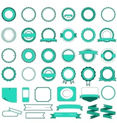 Set of sale badges labels and stickers in cyan vector