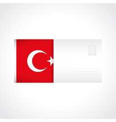 Envelope with turkish flag card vector