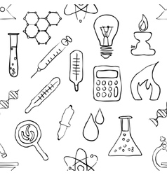 Sketch seamless laboratory pattern vector