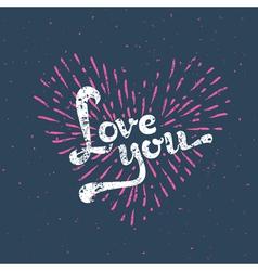 Grunge love card - with sunbirst vector