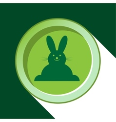 Button with dark green easter bunny and shadow vector