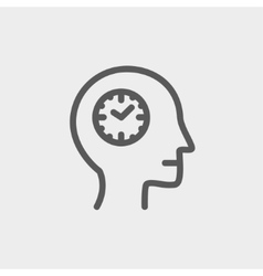 Clocks in head thin line icon vector