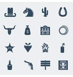 Cowboy icons wild west pictograms isolated vector