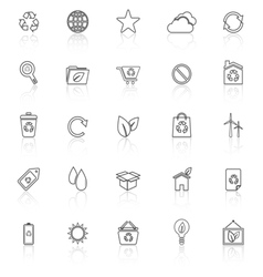 Ecology line icons with reflect on white vector