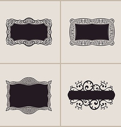 Label frames elegant border set floral banner vector