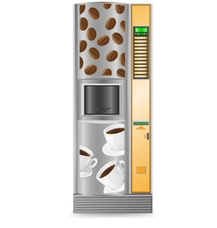 Vending coffee is a machine isolated on white back vector