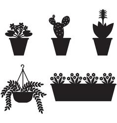 Flower pot set vector