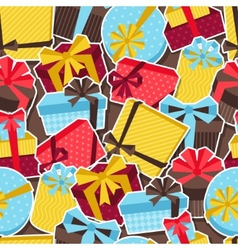 Seamless celebration pattern with sticker gift vector