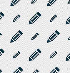 Pencil icon sign seamless pattern with geometric vector