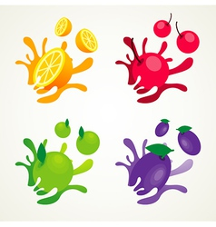 Fruit splash set vector