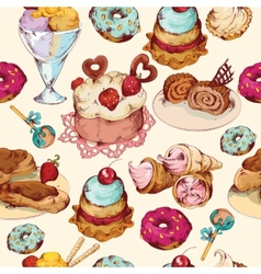 Sweets sketch colored seamless pattern vector