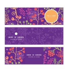 Colorful garden plants horizontal banners set vector