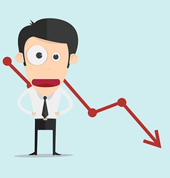 Business man with negative graph vector