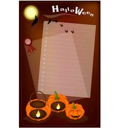 Jack-o-lantern pumpkins with candle light on night vector