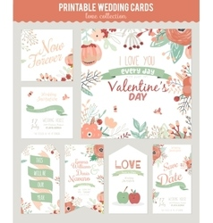 Vintage romantic floral save the date invitation vector