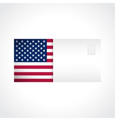 Envelope with american flag card vector