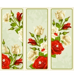 Set of rose vertical banners vector