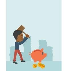 Black guy holding a hammer breaking piggy bank vector