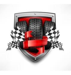 Racing symbols on shield vector
