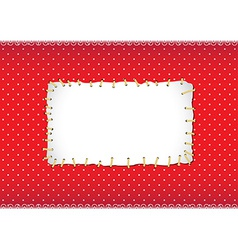 Polka dot frame with stitched patch vector