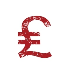 Pound sterling red grunge icon vector