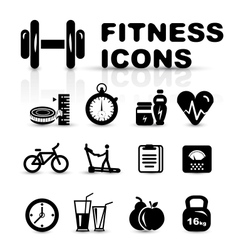 Black fitness icon set vector