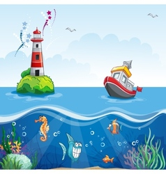 In cartoon style of a ship at sea and fun fish vector