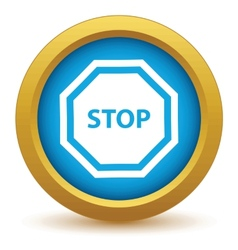 Gold stop icon vector