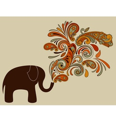 Elephant with floral pattern vector