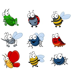 Set of cartoon insects vector