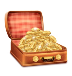 Open suitcase with gold coins vector