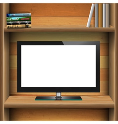 Tv widescreen lcd monitor on wooden shelf with vector