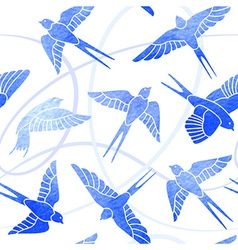 Flight of swallows - watercolor pattern vector