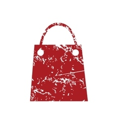 Shopping bag red grunge icon vector