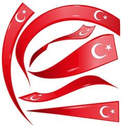 Turkey flag set vector