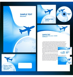 Corporate identity airplane flight tickets air fly vector