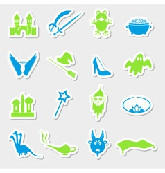 Color simple fairy tales theme stickers set eps10 vector