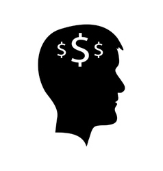Man head with dollar signs vector
