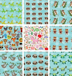 Set of 9 seamless pattern with funny animals on vector