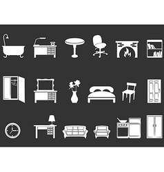 White furniture silhouettes vector